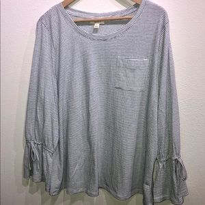 Style & Co Striped Long Cinched Sleeve Top